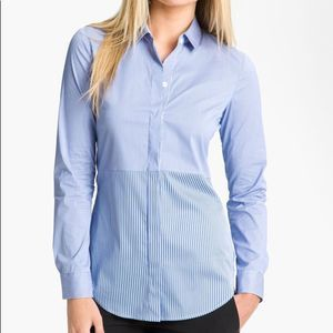 Theory Tablita S. Multi Blue Stripe Button Down